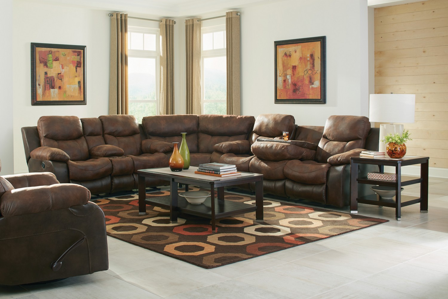 Catnapper Henderson Reclining Sectional Sofa Set Sunset Cn 64355 Sect Set Sunset At