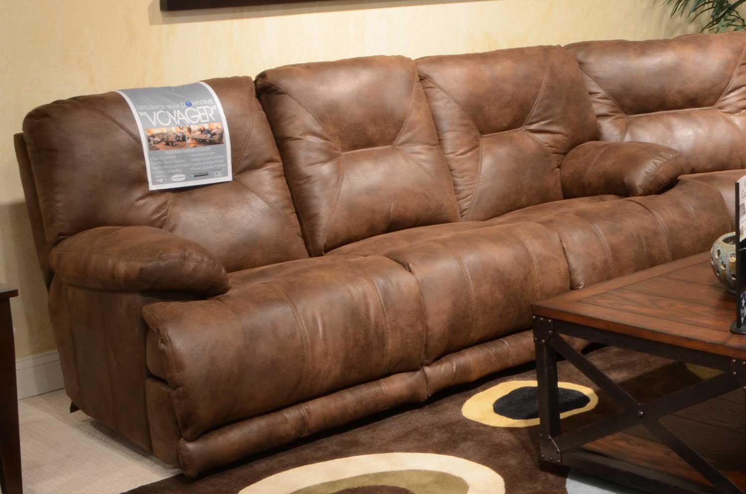 CatNapper Voyager Power Lay Flat Sofa with 3 Recliners and Drop Down Table - Elk