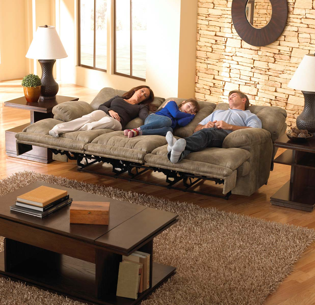 CatNapper Voyager Power Lay Flat Sofa with 3 Recliners and Drop Down Table - Brandy