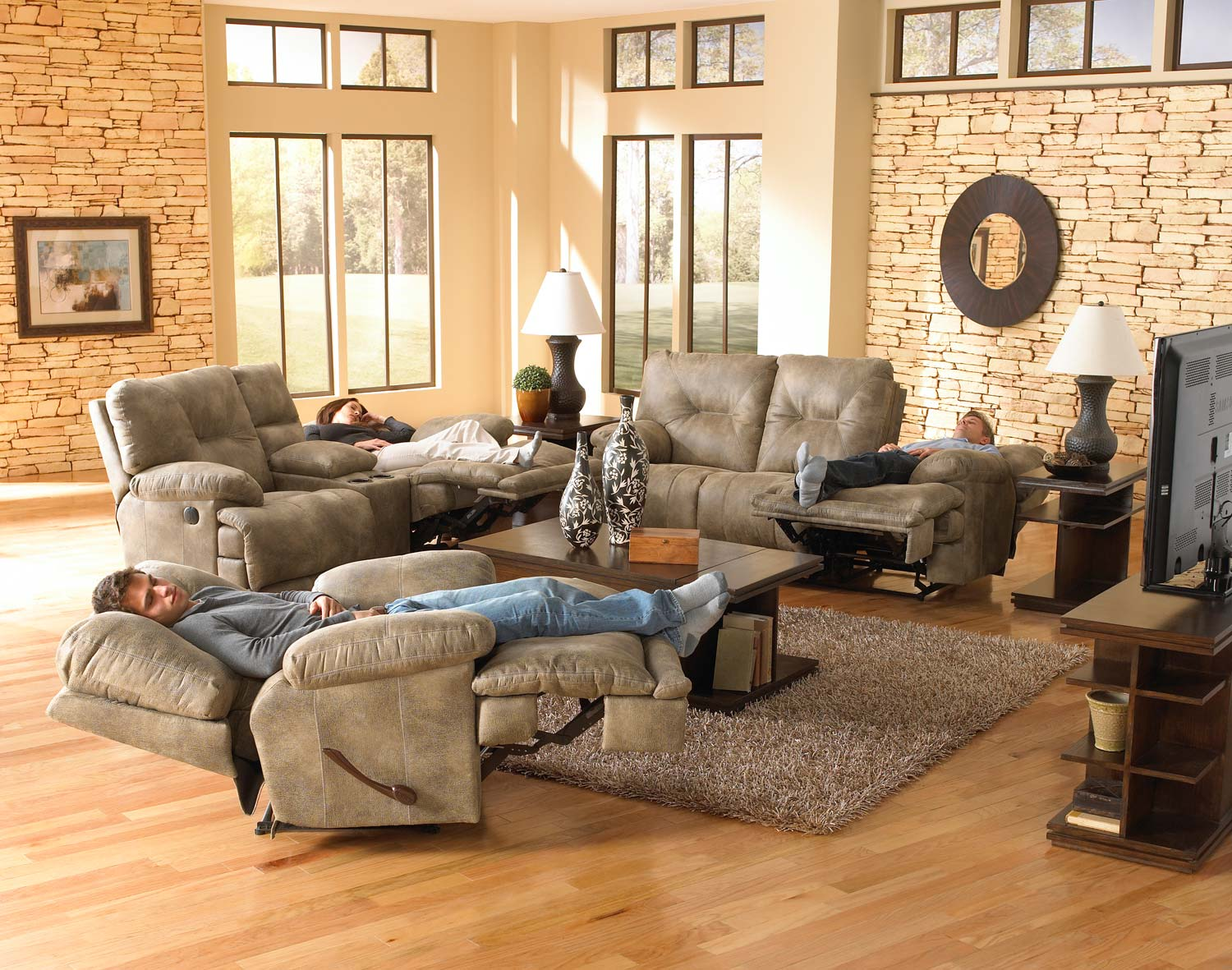 CatNapper Voyager Power Lay Flat Reclining Sofa Set - Brandy