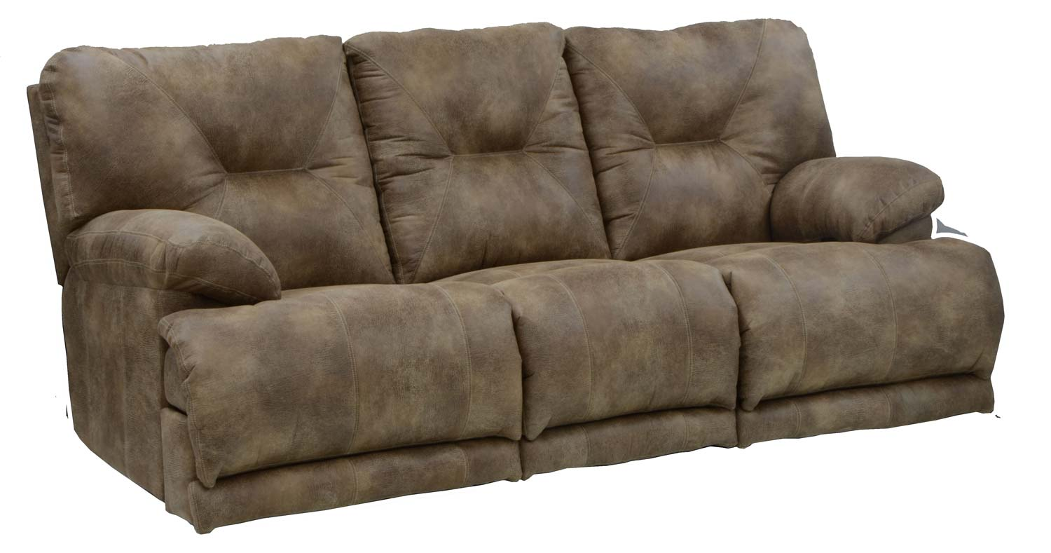 Charmant CatNapper Voyager Lay Flat Sofa With 3 Recliners And Drop Down Table    Brandy