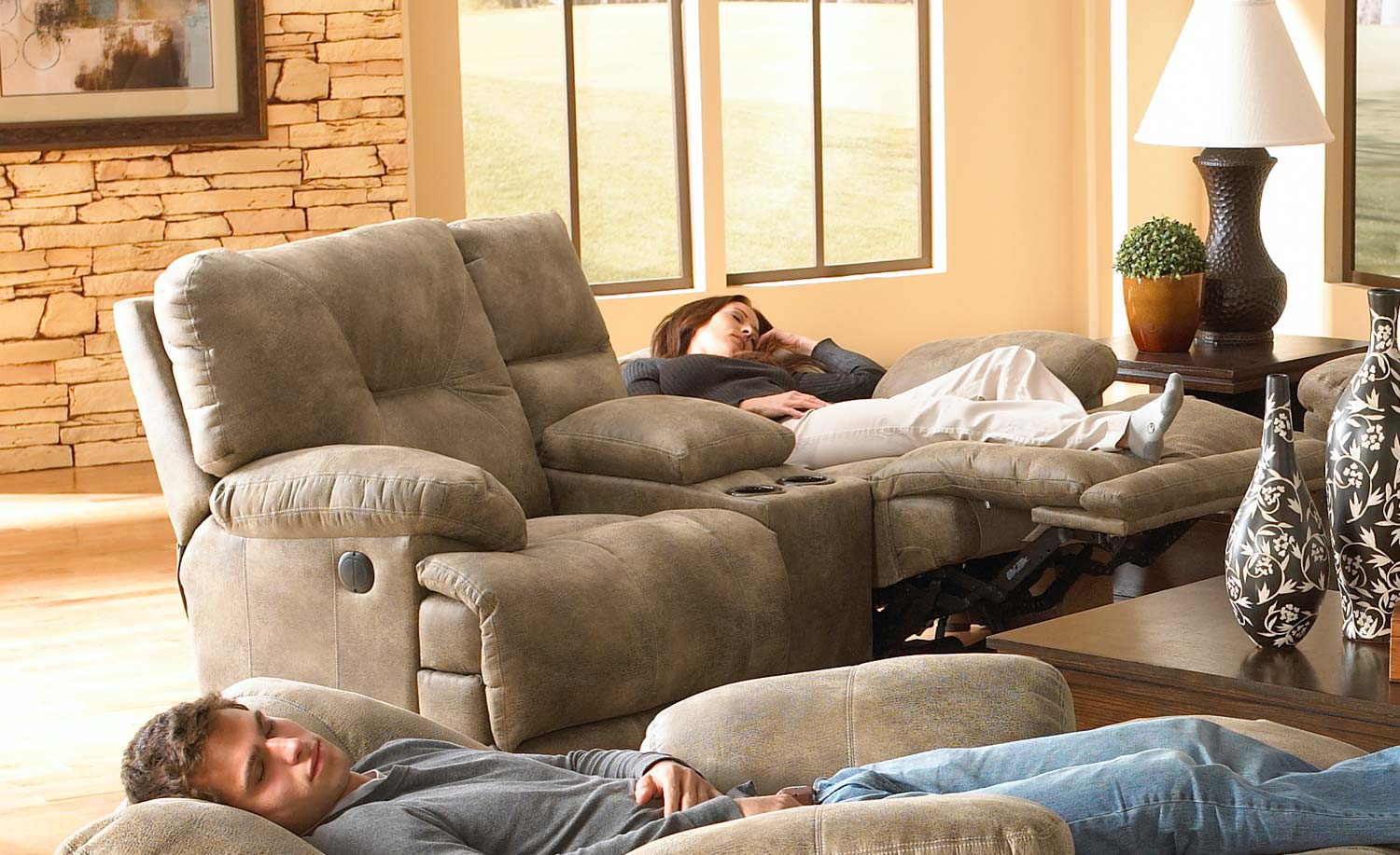 CatNapper Voyager Lay Flat Reclining Console Loveseat with Storage and Cupholders - Brandy