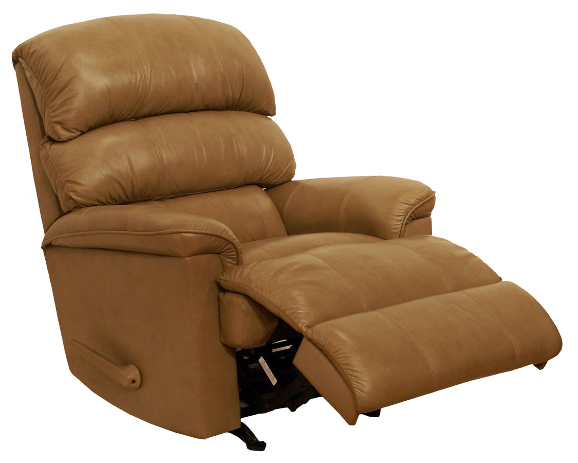 Catnapper bentley top grain leather touch chaise rocker for Catnapper recliner chaise