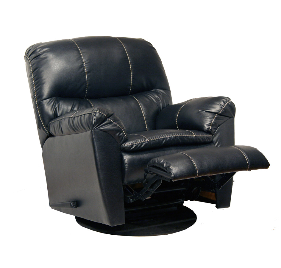 CatNapper Cosmo Bonded Leather Swivel Glider Recliner Black CN 4415 Cosmo B