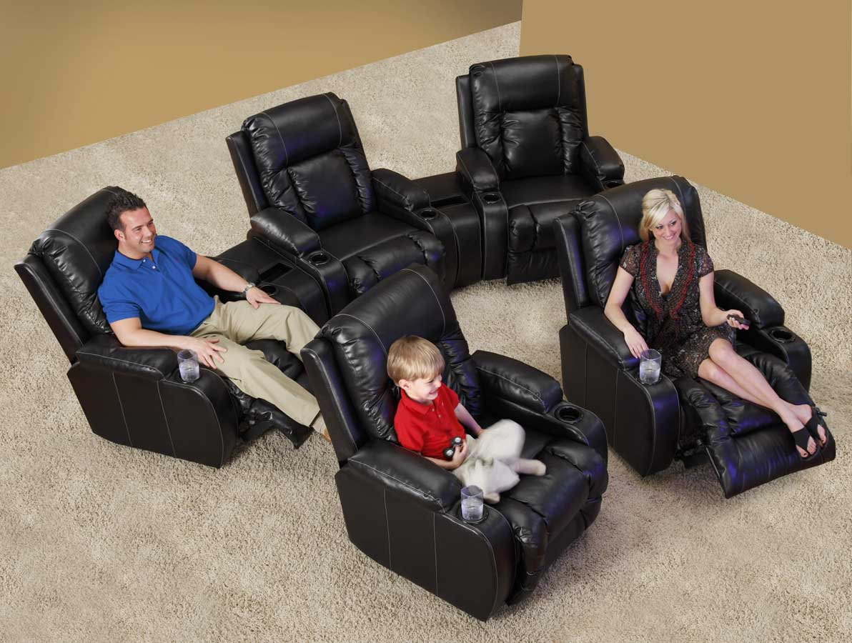 CatNapper Top Gun Home Theater Recliner Set - Black