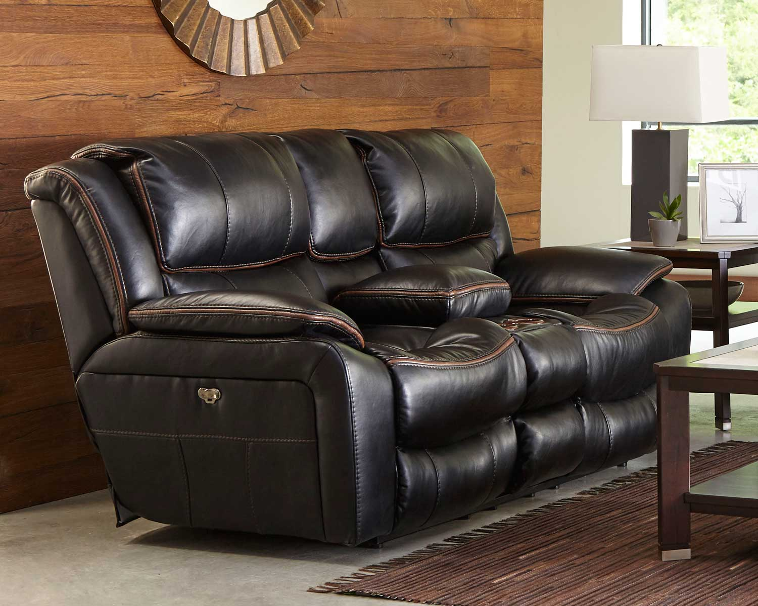 CatNapper Beckett Power Reclining Console Loveseat With Storage    Cupholders   USB Port   Black