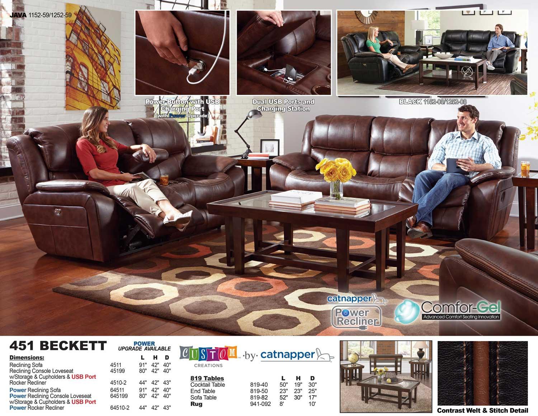 CatNapper Beckett Power Reclining Sofa Set   Java