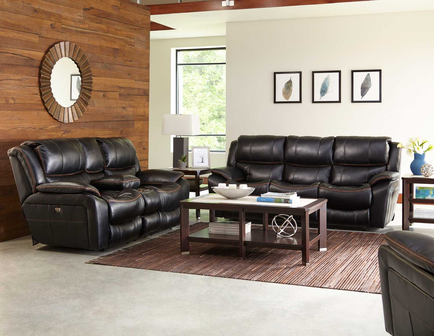 Elegant CatNapper Beckett Reclining Sofa Set   Black