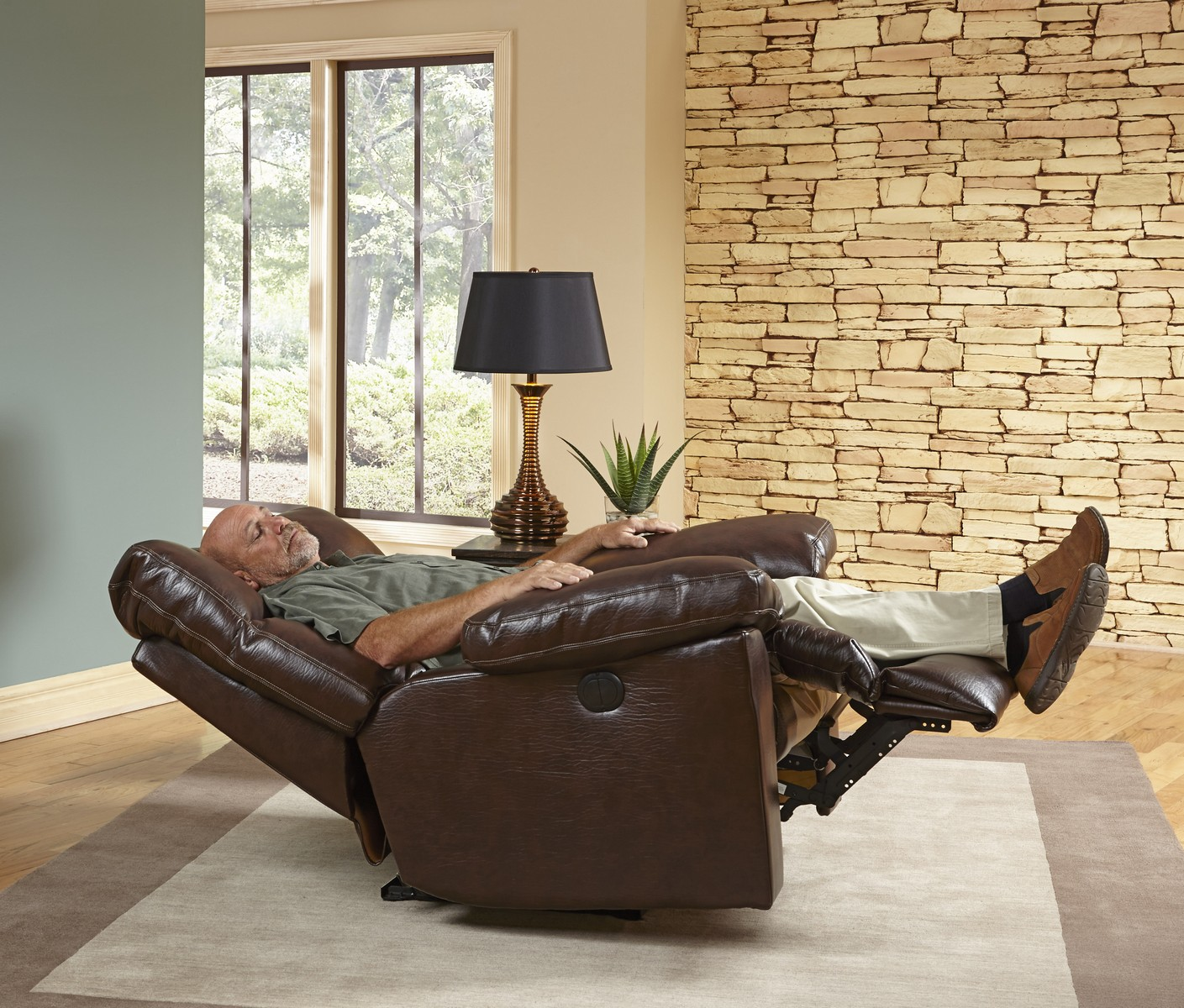 Catnapper griffey bonded leather chaise rocker recliner for Bonded leather chaise