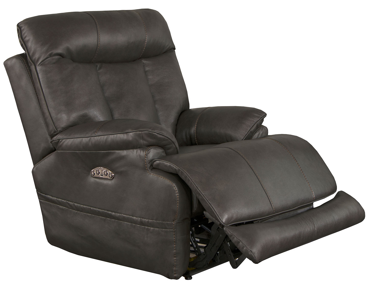 CatNapper Naples Leather Power Recliner Chair - Steel