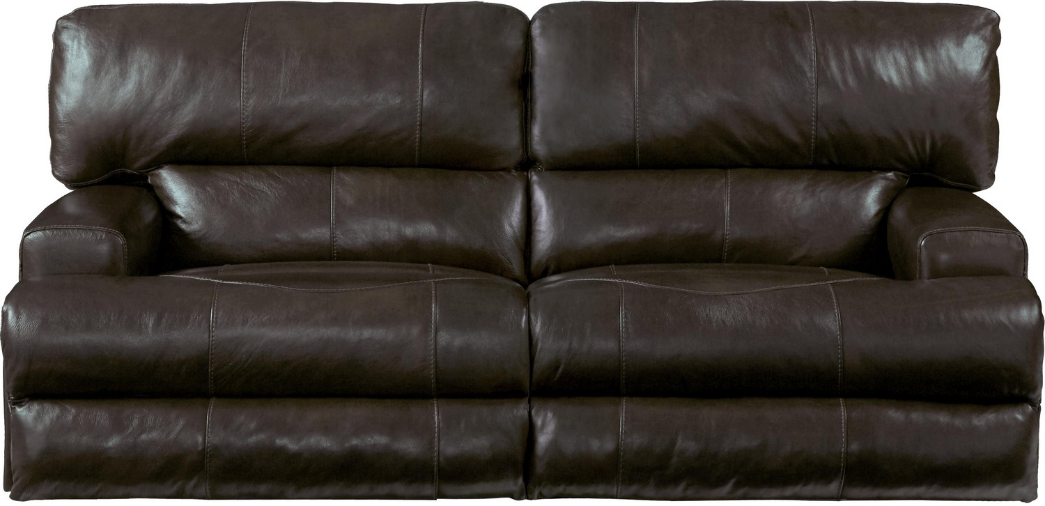 CatNapper Wembley Top Grain Italian Leather Leather Power Headrest Power Lay Flat Reclining Sofa - Chocolate