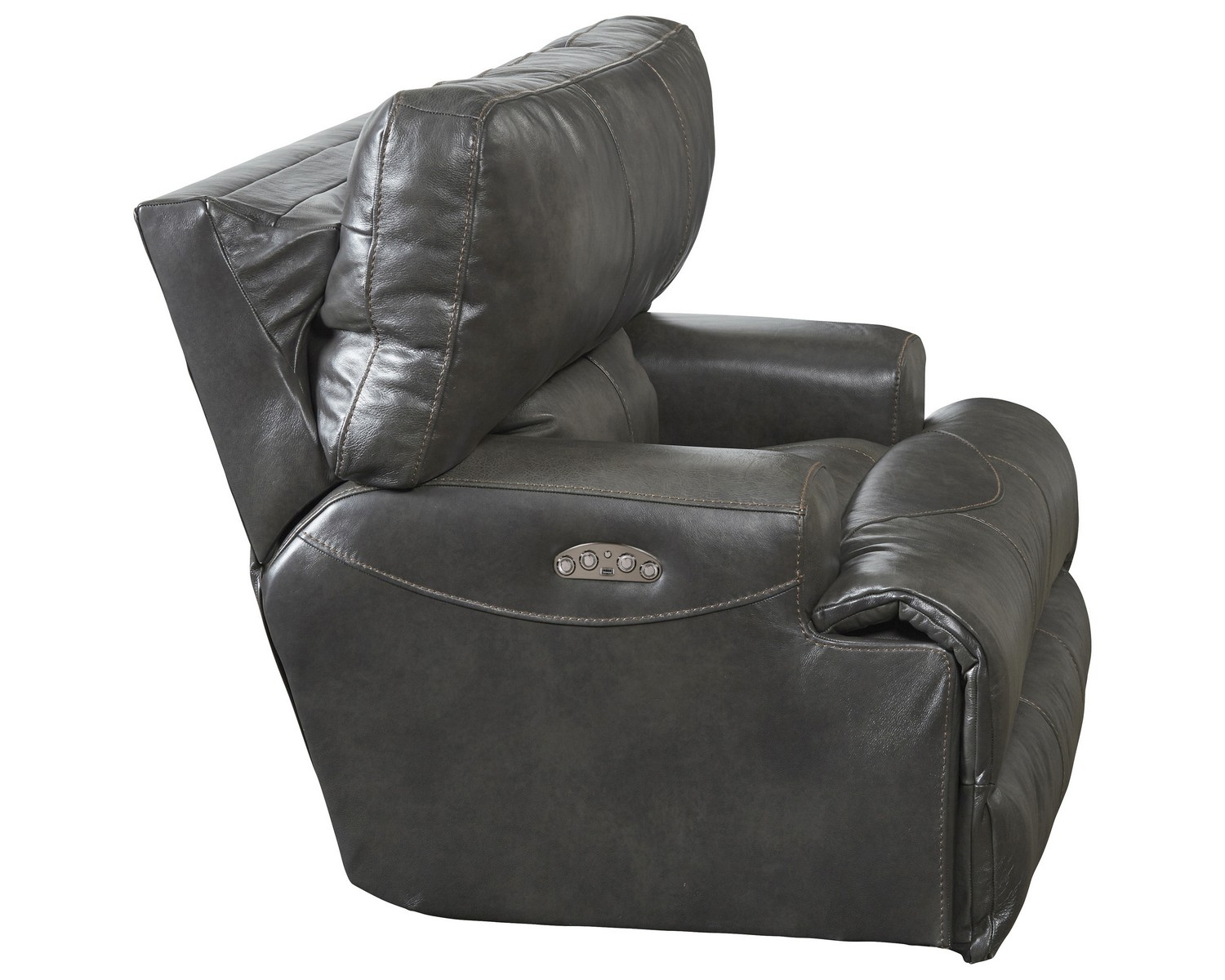 CatNapper Wembley Top Grain Italian Leather Leather Lay Flat Recliner - Steel