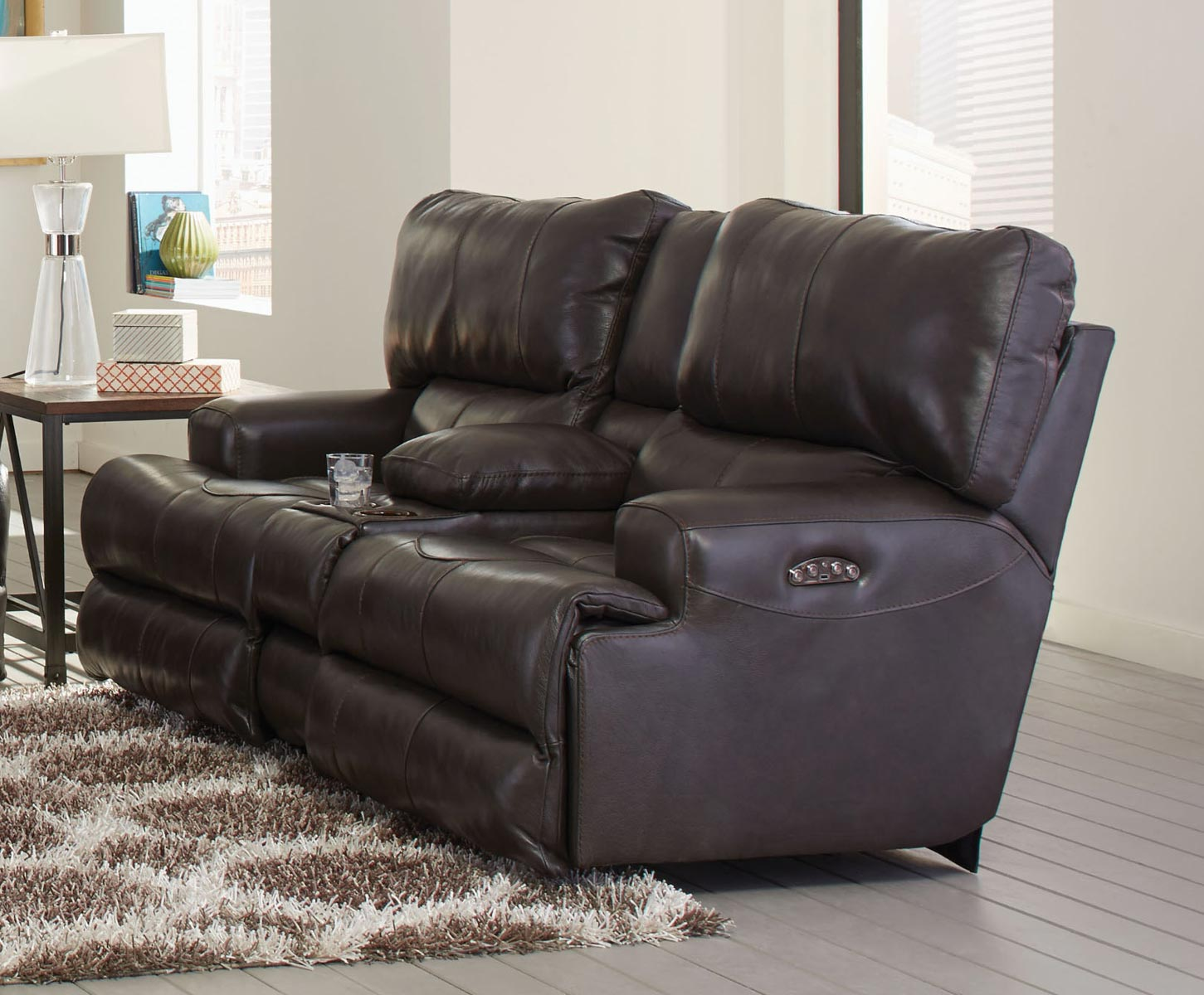 CatNapper Wembley Top Grain Italian Leather Leather Power Headrest Power Lay Flat Reclining Console Loveseat - Steel