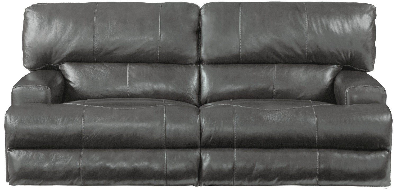 CatNapper Wembley Top Grain Italian Leather Leather Power Headrest Power Lay Flat Reclining Sofa - Steel
