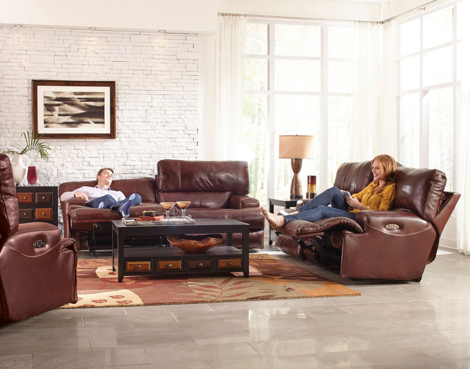 CatNapper Wembley Top Grain Italian Leather Leather Lay Flat Reclining Sofa  Set   Walnut