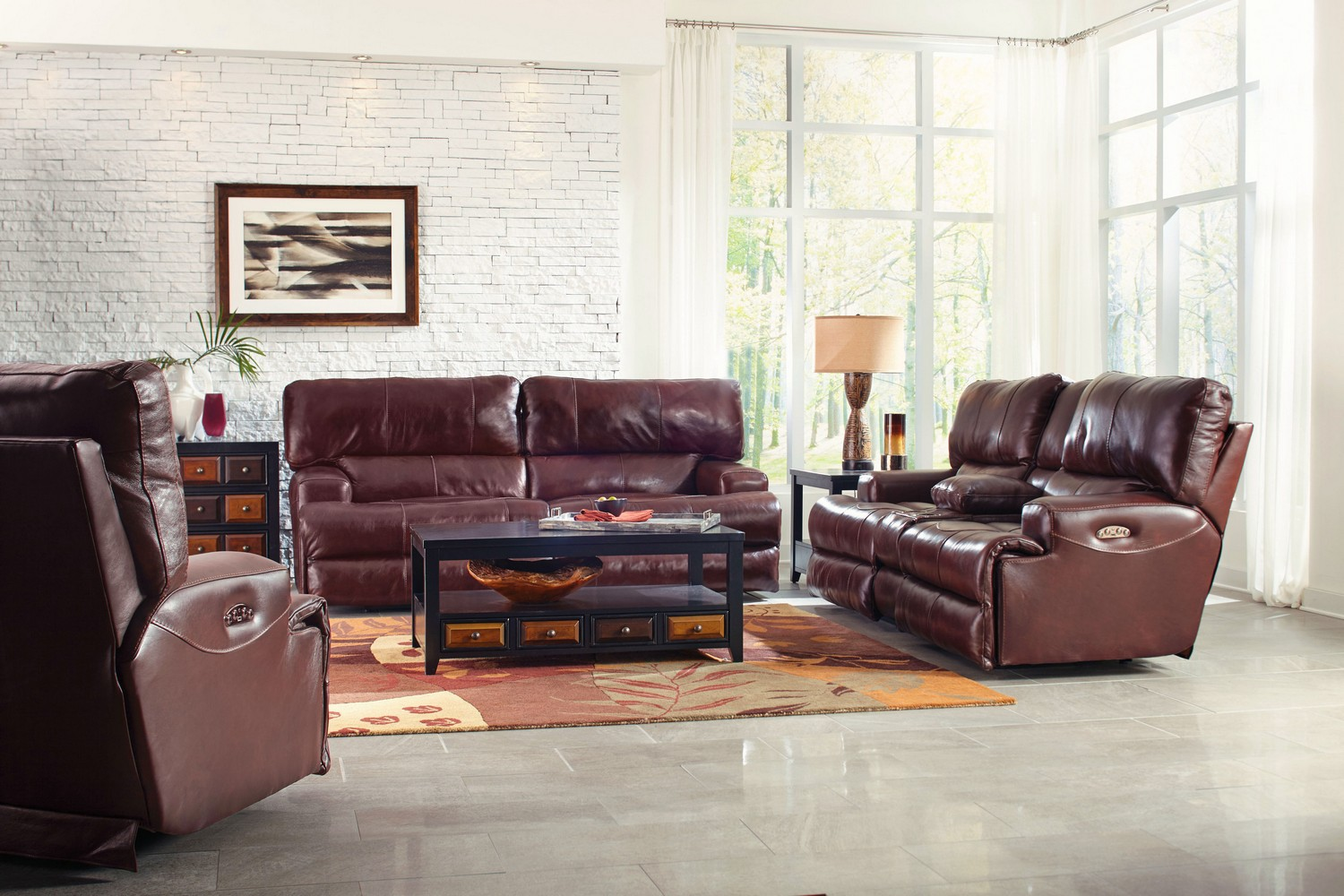CatNapper Wembley Top Grain Italian Leather Leather Lay Flat Reclining Sofa Set - Walnut