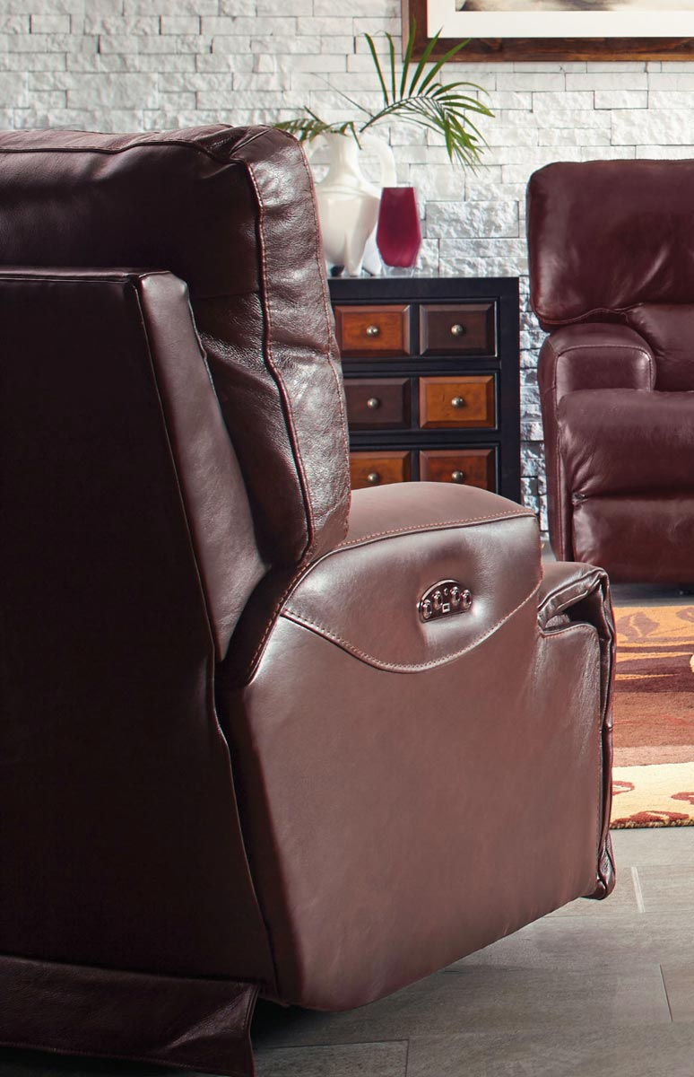 CatNapper Wembley Top Grain Italian Leather Leather Power Headrest Power Lay Flat Recliner - Walnut