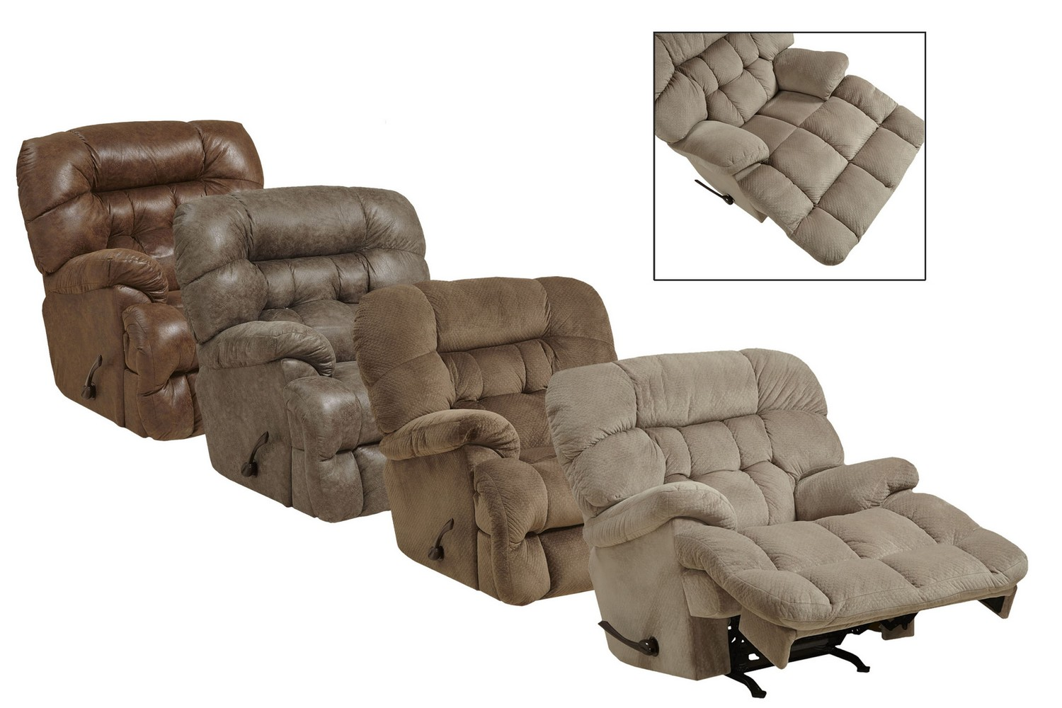 CatNapper Colson Chaise Rocker Reciner with Heat & Massage - Canyon