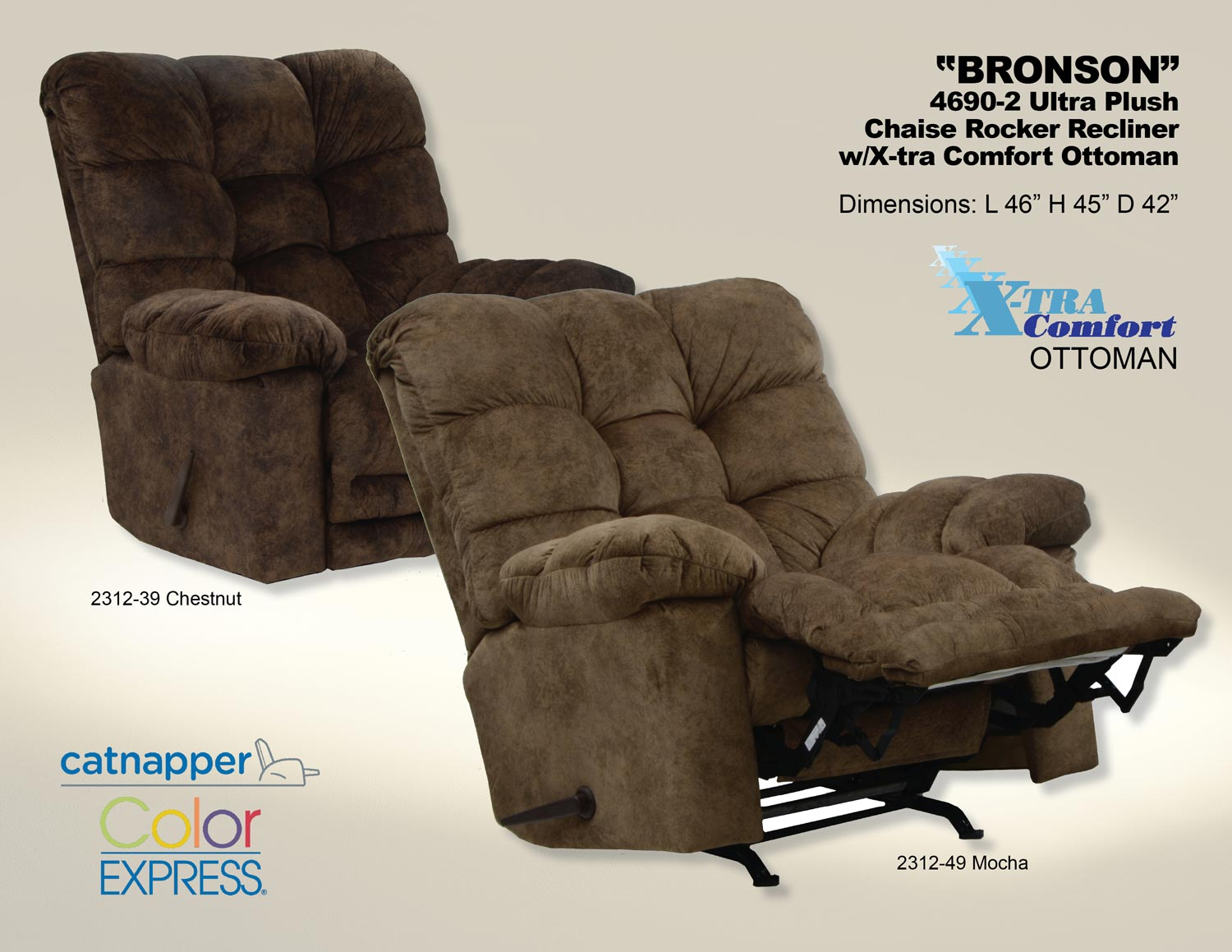CatNapper Bronson Chaise Rocker Recliner with X-Tra Comfort Footrest - Mocha