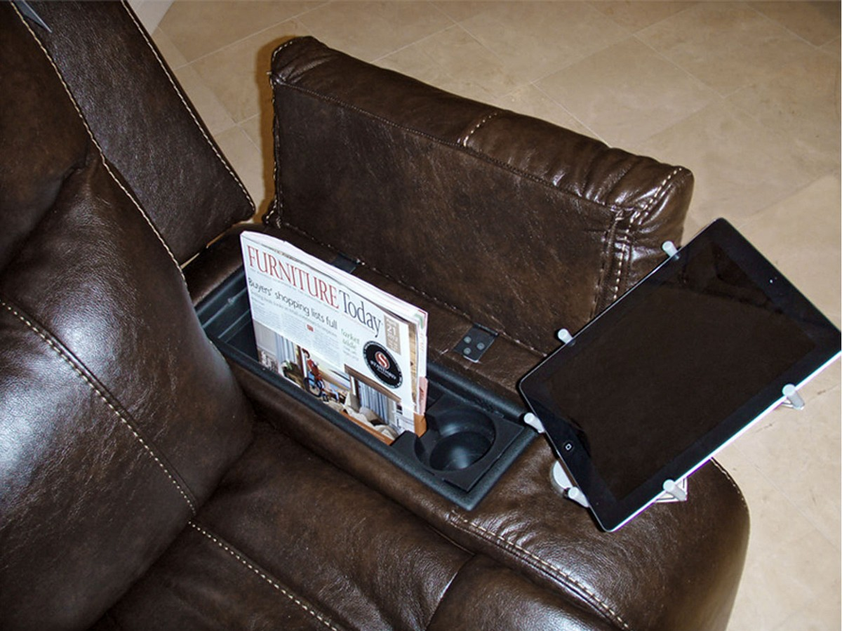 CatNapper Trent Premium Bonded Leather   Glider Recliner IPad Claw And Dual  Storage   Godiva
