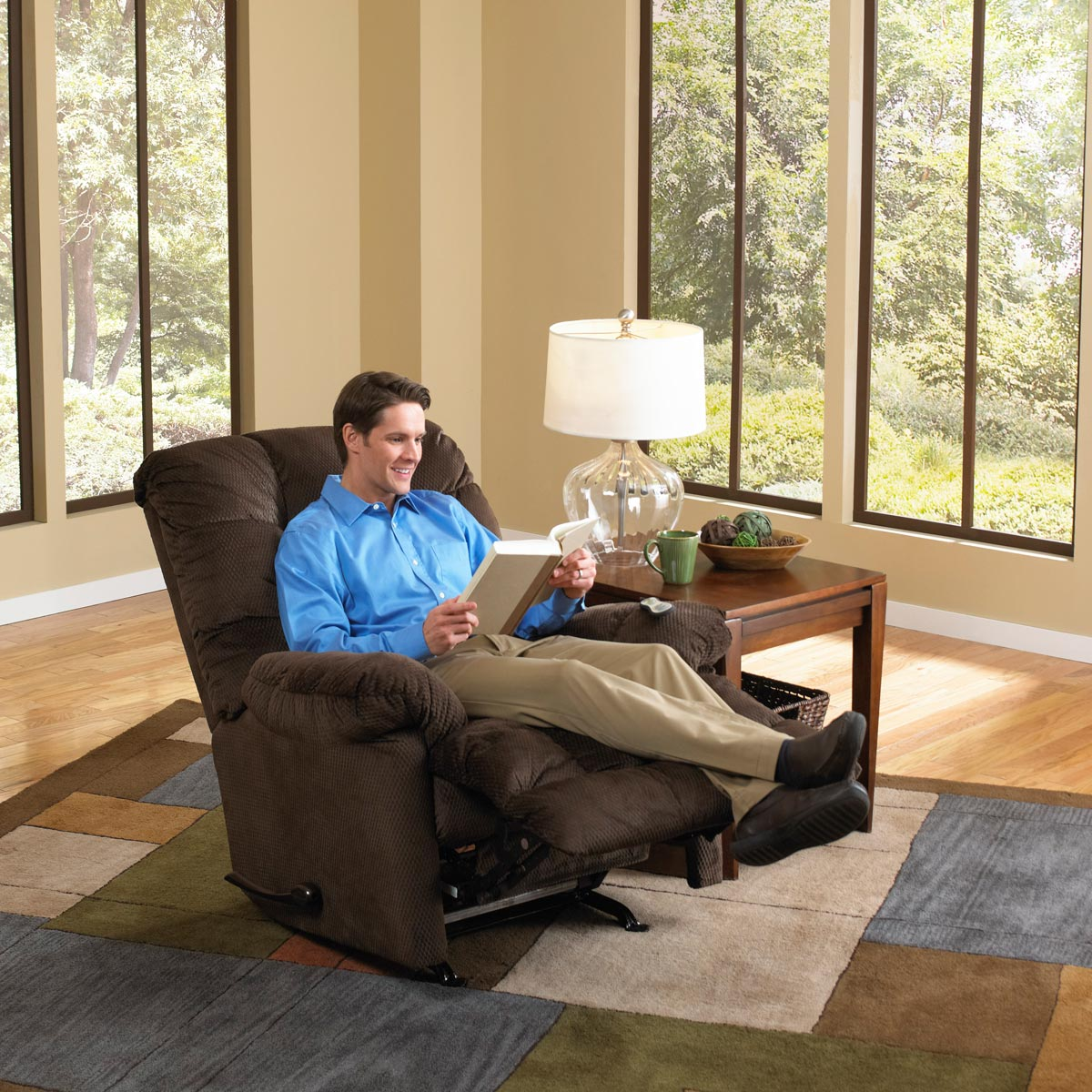 CatNapper Nettles Chaise Rocker Recliner with Deluxe Heat and Massage - Umber
