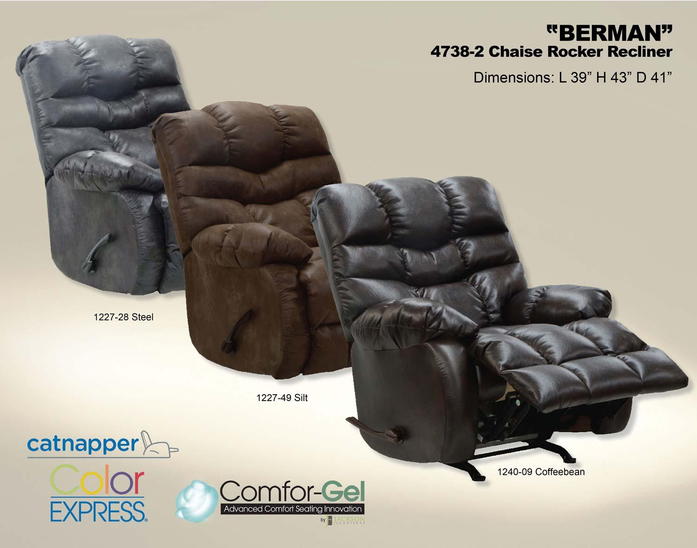 CatNapper Berman Chaise Rocker Recliner - Steel
