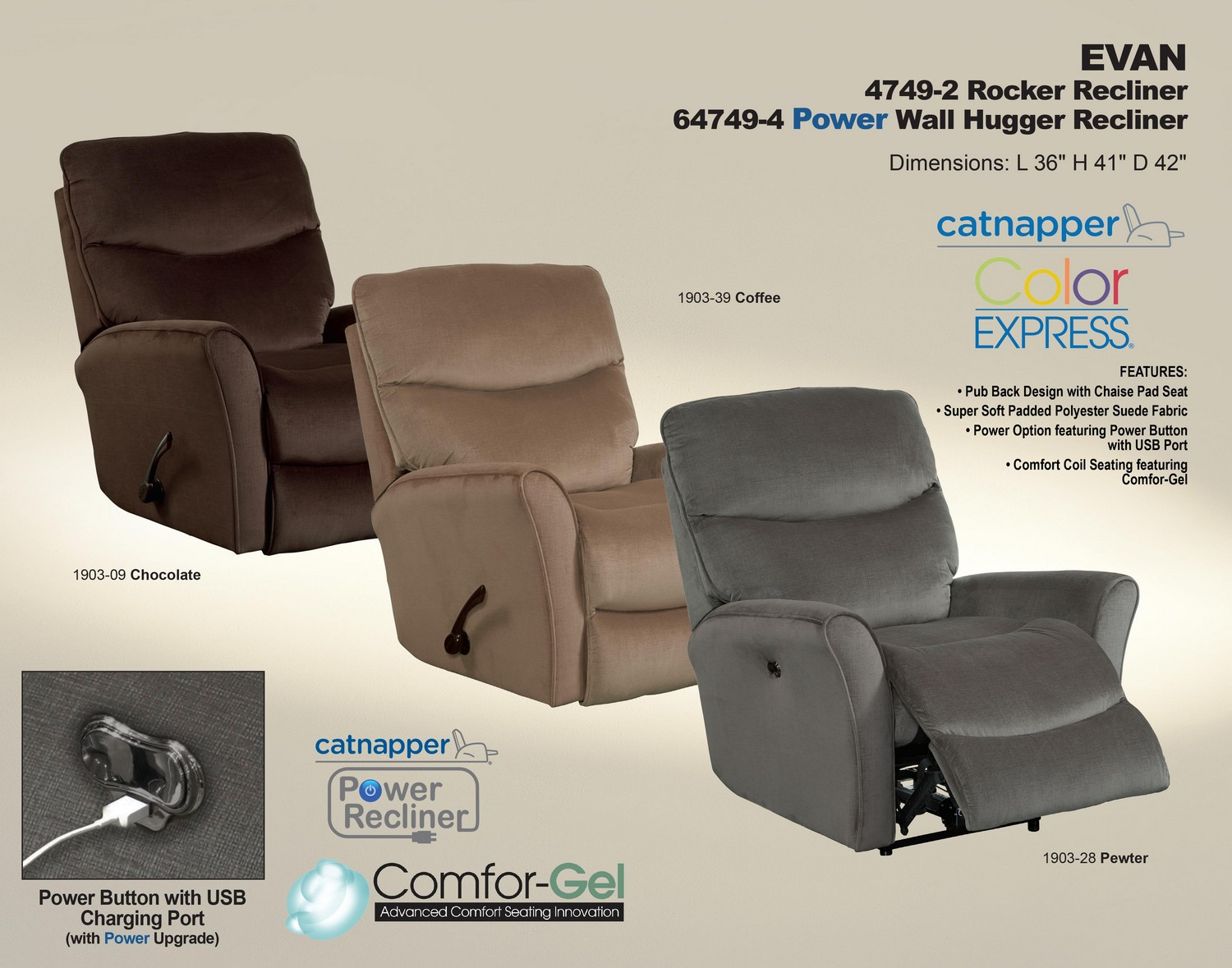 CatNapper Evan Power Wall Hugger Recliner - Coffee