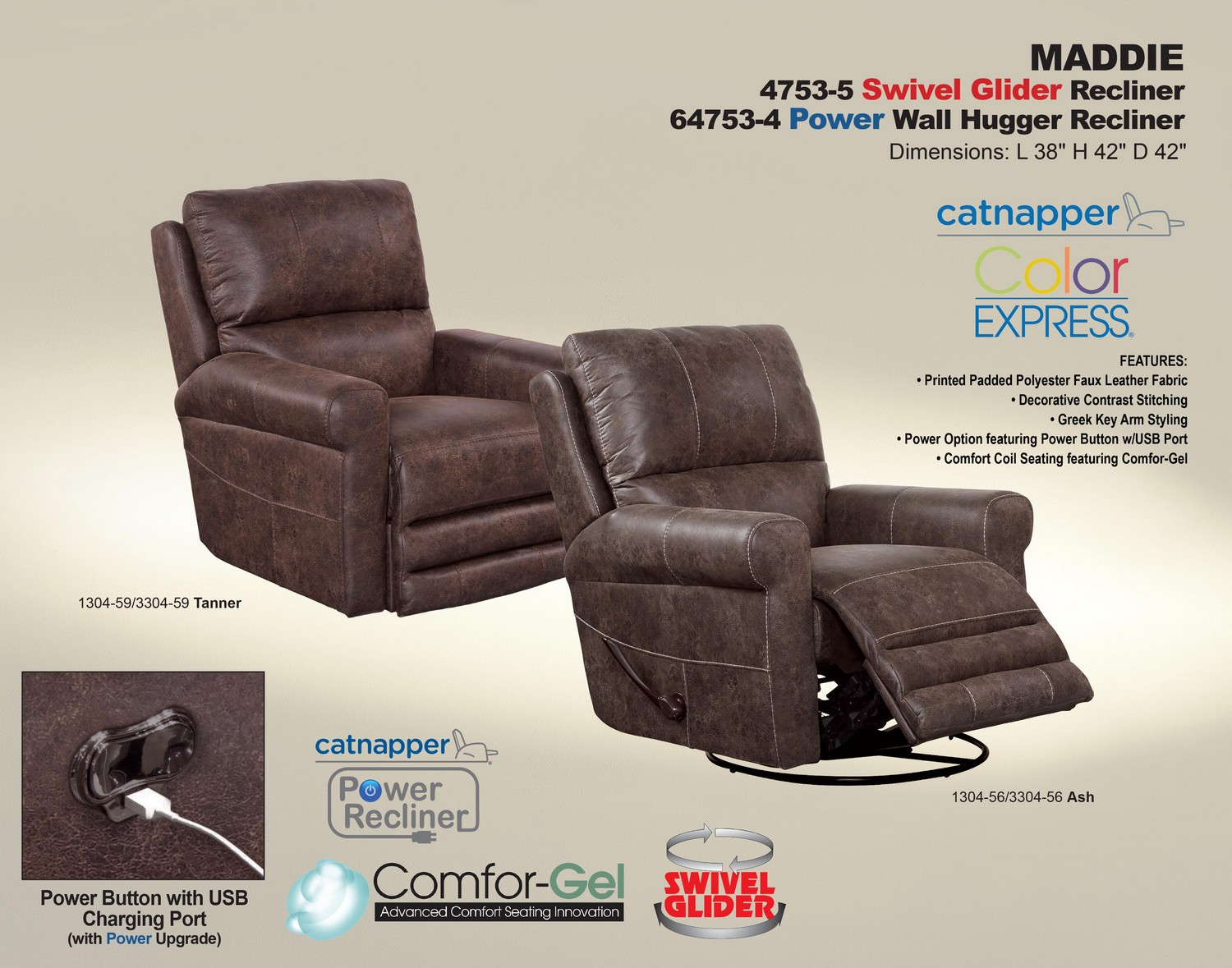 CatNapper Maddie Power Wall Hugger Recliner - Ash
