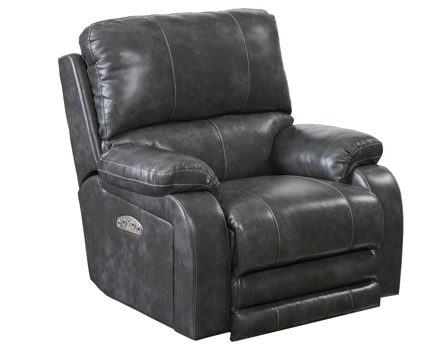 CatNapper Thornton Power Headrest Power Lay Flat Recliner - Steel
