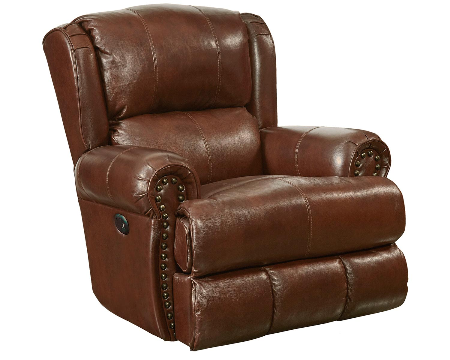 CatNapper Duncan Leather Glider Recliner Chair - Walnut