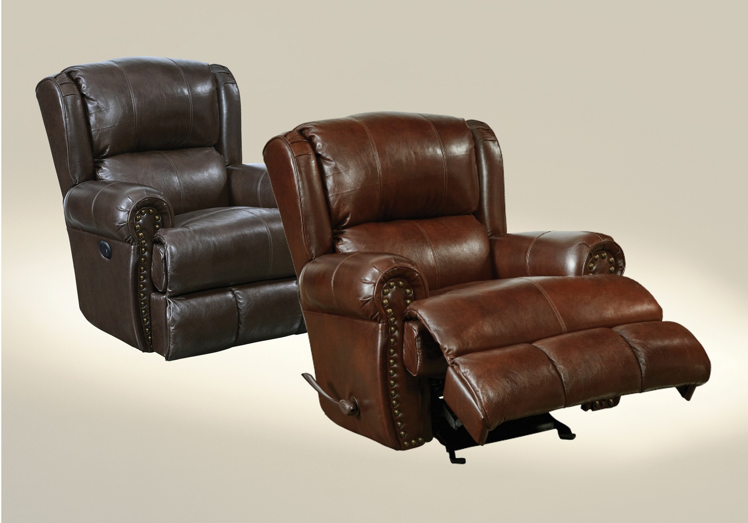 CatNapper Duncan Top Grain Leather Touch Deluxe Glider Recliner - Walnut