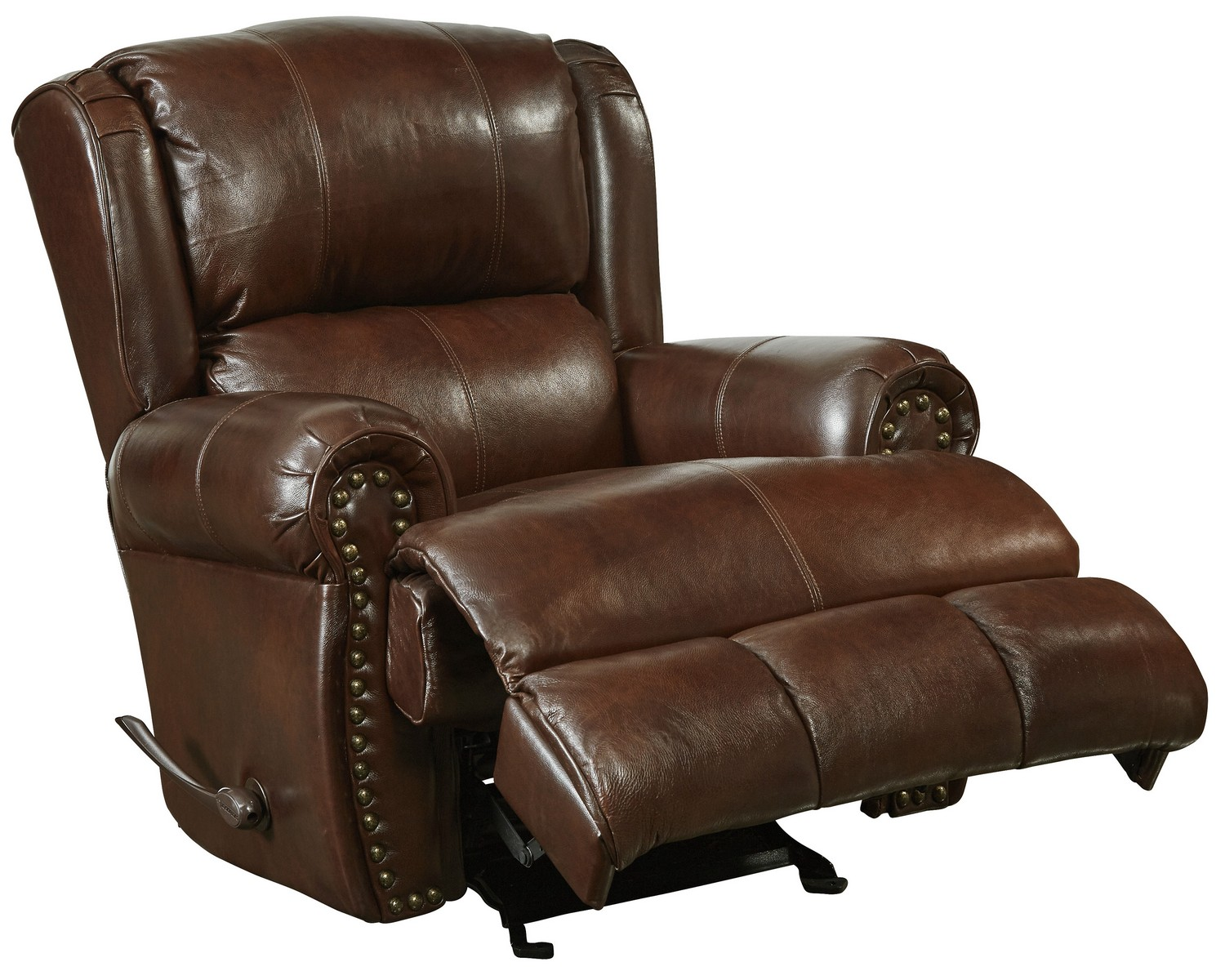 CatNapper Duncan Top Grain Leather Touch Power Deluxe Lay Flat Recliner - Walnut