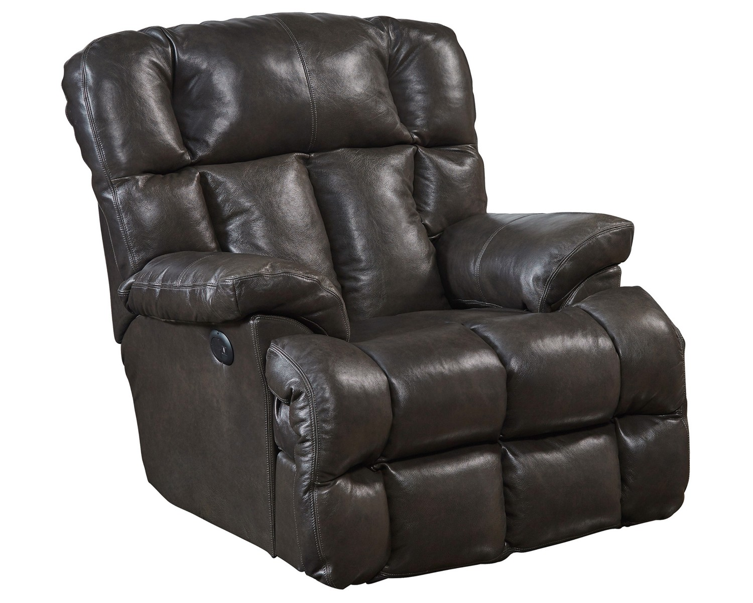 CatNapper Victor Top Grain Leather Power Lay Flat Chaise Recliner - Chocolate