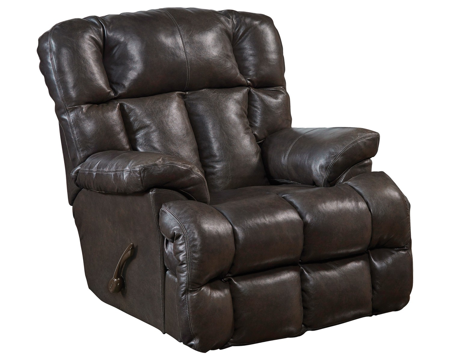 CatNapper Victor Top Grain Leather Chaise Rocker Recliner - Chocolate