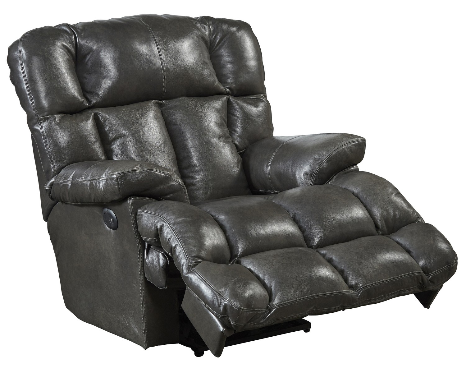 CatNapper Victor Top Grain Leather Power Lay Flat Chaise Recliner - Steel