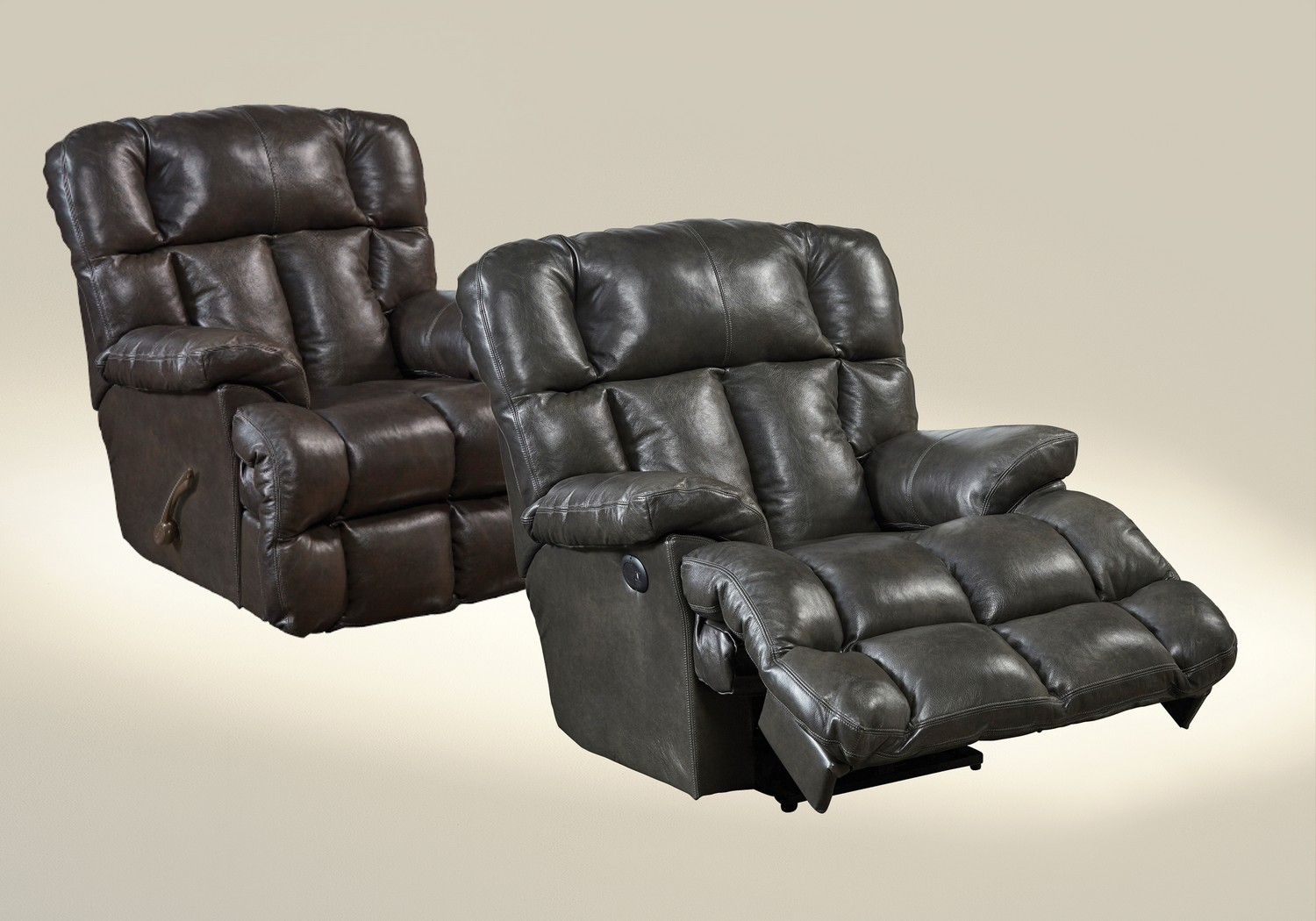CatNapper Victor Top Grain Leather Chaise Rocker Recliner - Steel : chaise rocker recliner - Sectionals, Sofas & Couches