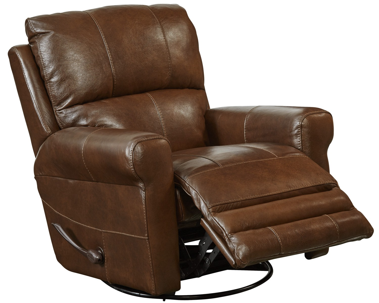 CatNapper Hoffner Top Grain Leather Touch Power Lay Flat Recliner - Chestnut