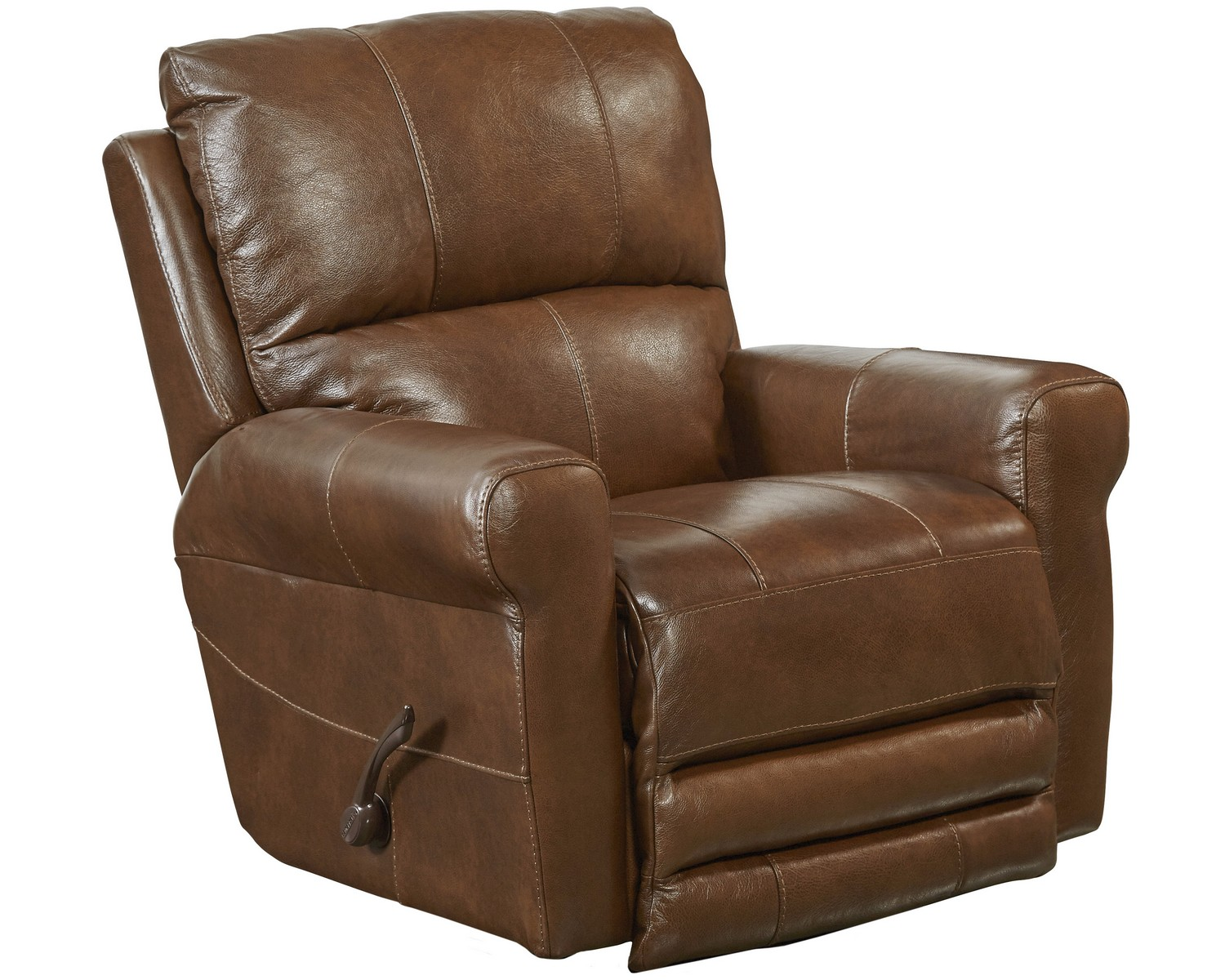 CatNapper Hoffner Top Grain Leather Touch Swivel Glider Recliner - Chestnut