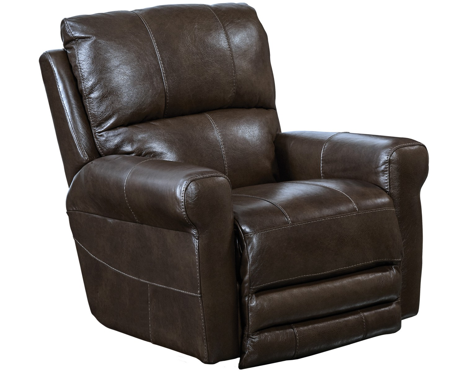 CatNapper Hoffner Top Grain Leather Touch Swivel Glider Recliner - Chocolate