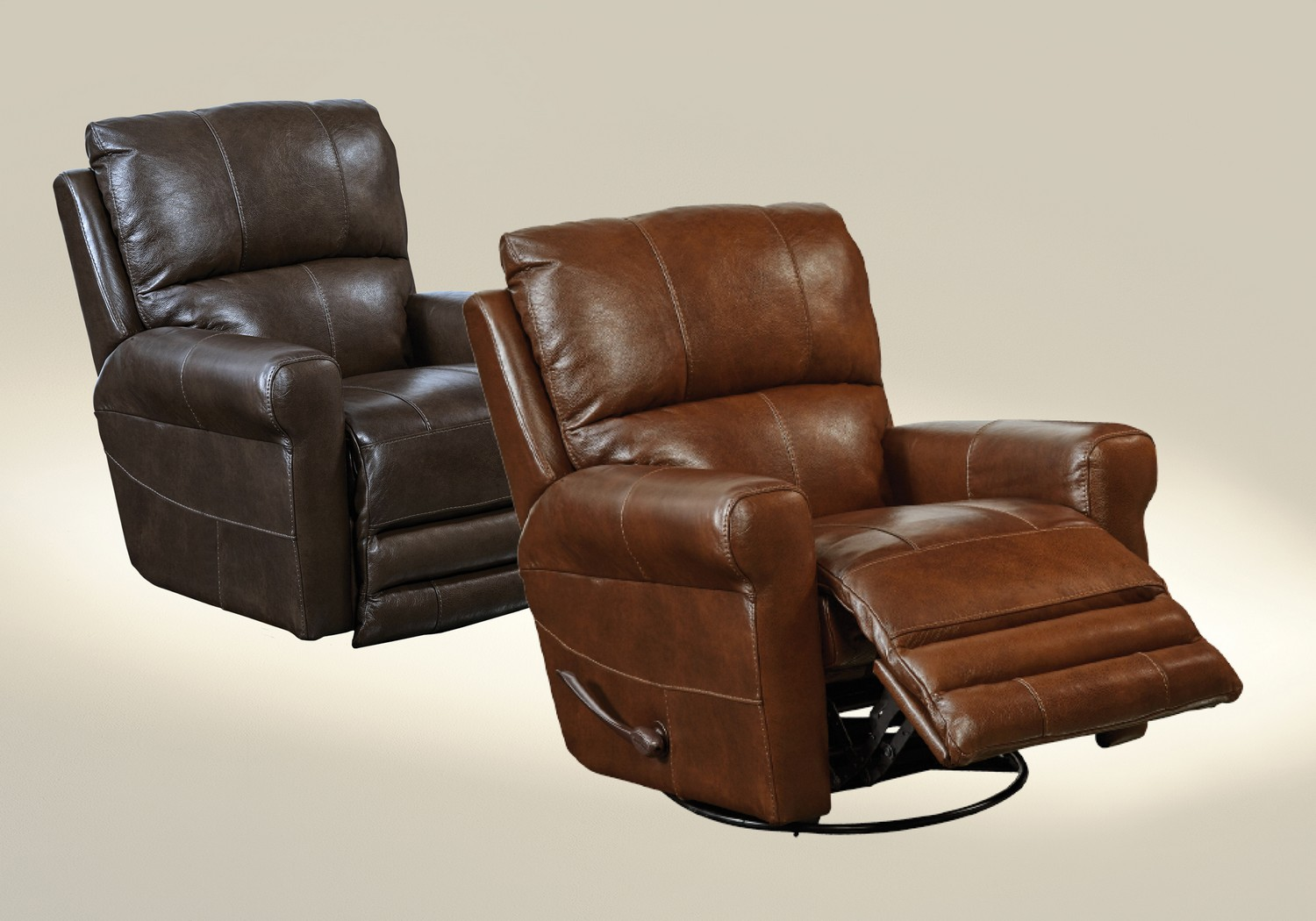 Catnapper Hoffner Top Grain Leather Touch Swivel Glider
