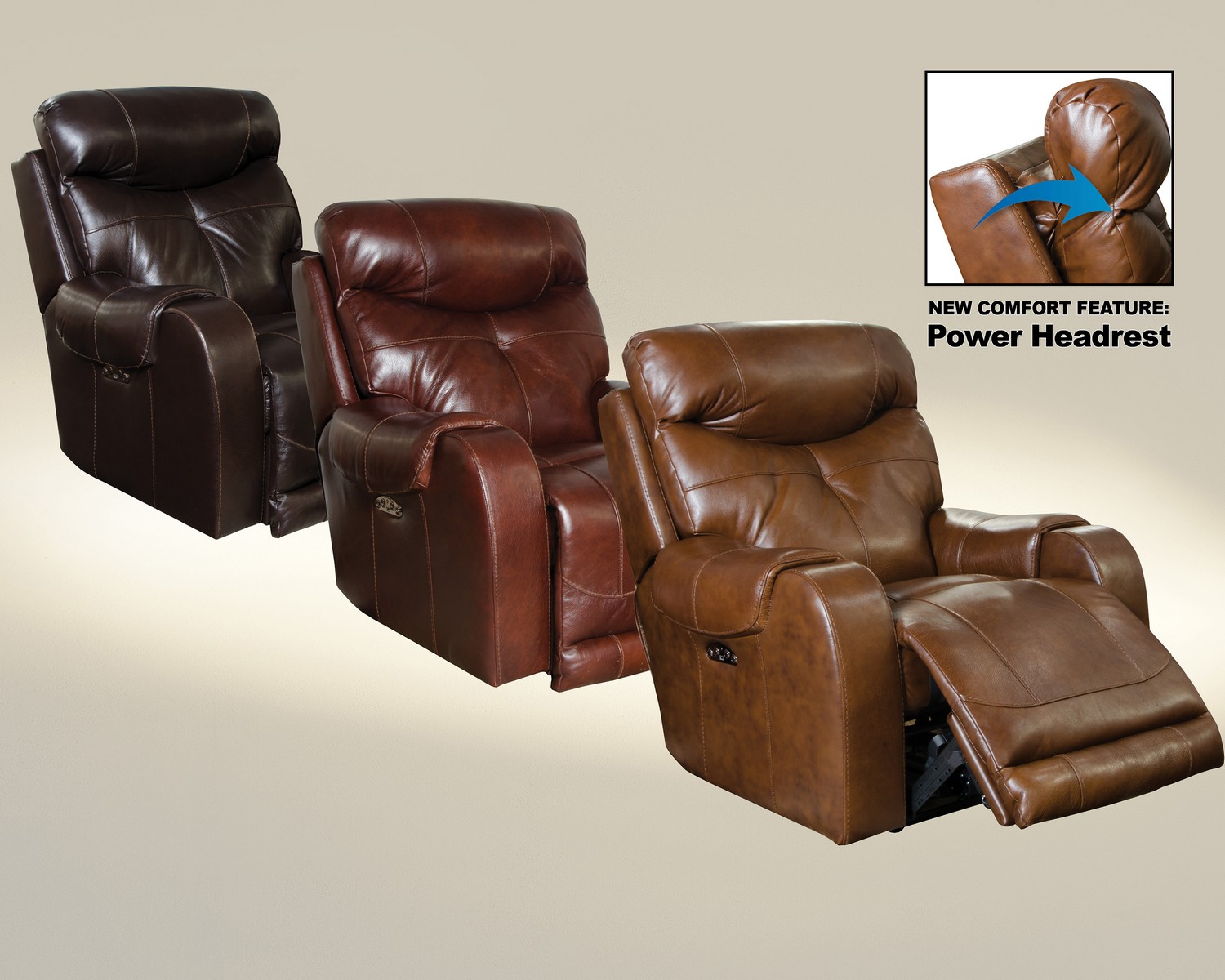 CatNapper Venice Top Grain Leather Touch Power Headrest Power Lay Flat Recliner - Chocolate