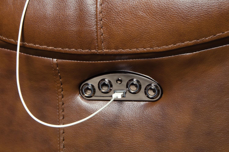 CatNapper Venice Top Grain Leather Touch Power Headrest Power Lay Flat Recliner - Chestnut
