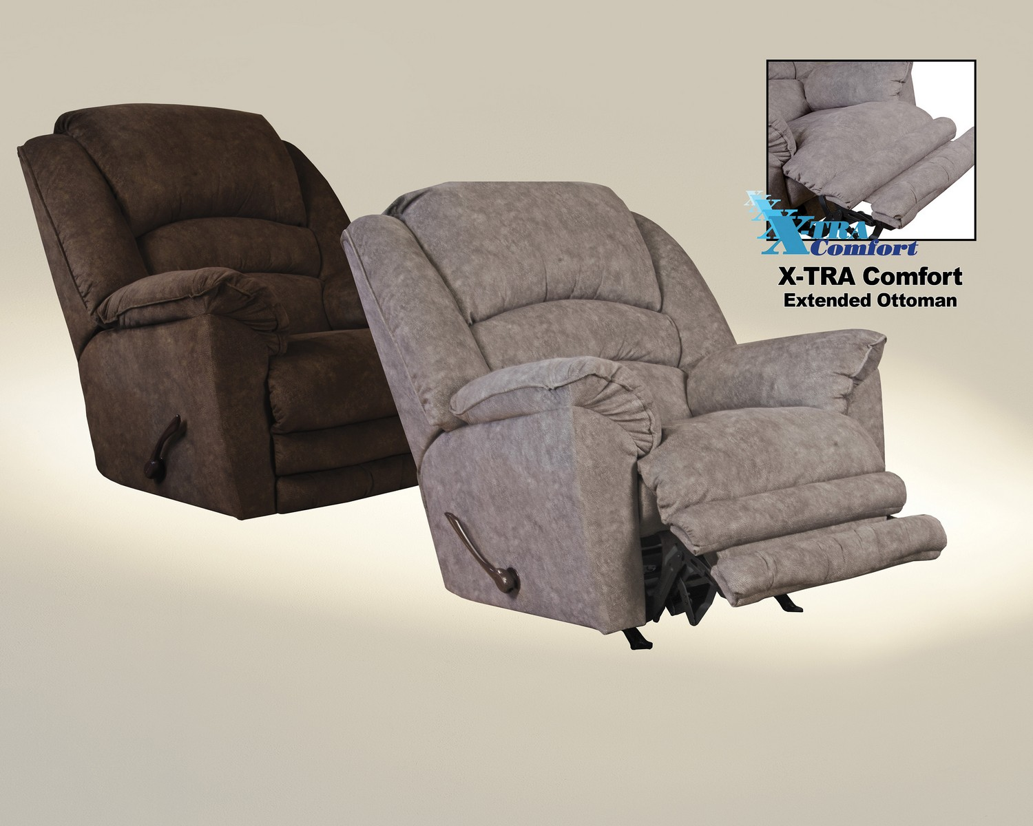 CatNapper Rialto Power Lay Flat Recliner with Extended Ottoman - Chocolate