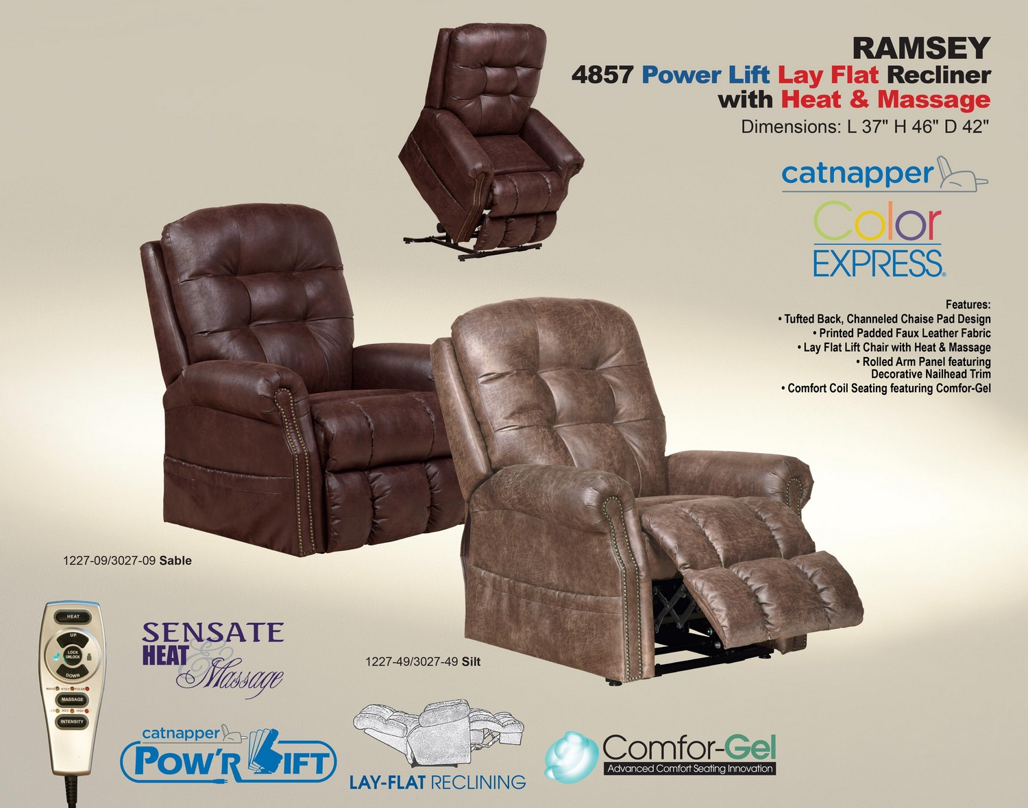 CatNapper Ramsey Power Lift Lay Flat Recliner with Heat and Massage - Silt