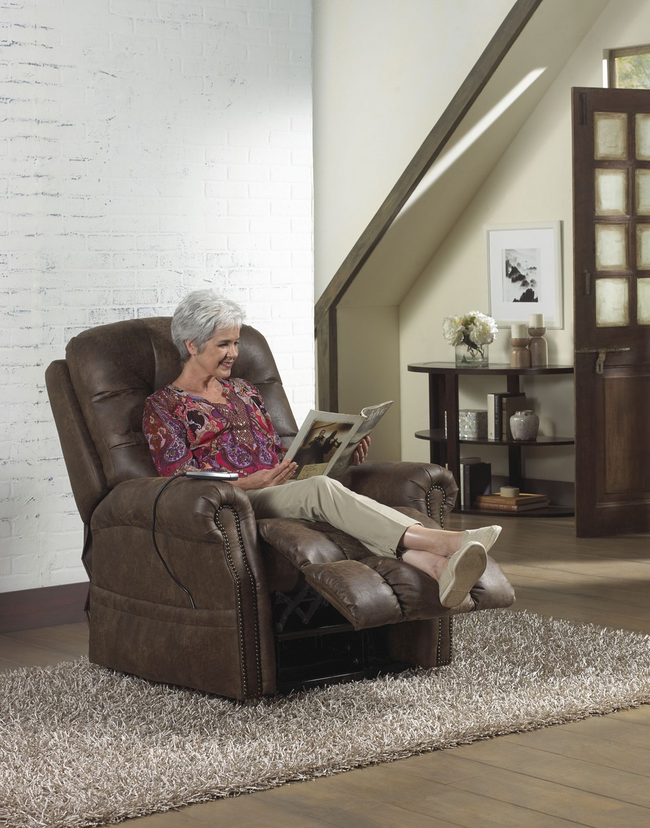 CatNapper Ramsey Power Lift Lay Flat Recliner with Heat and Massage - Sable