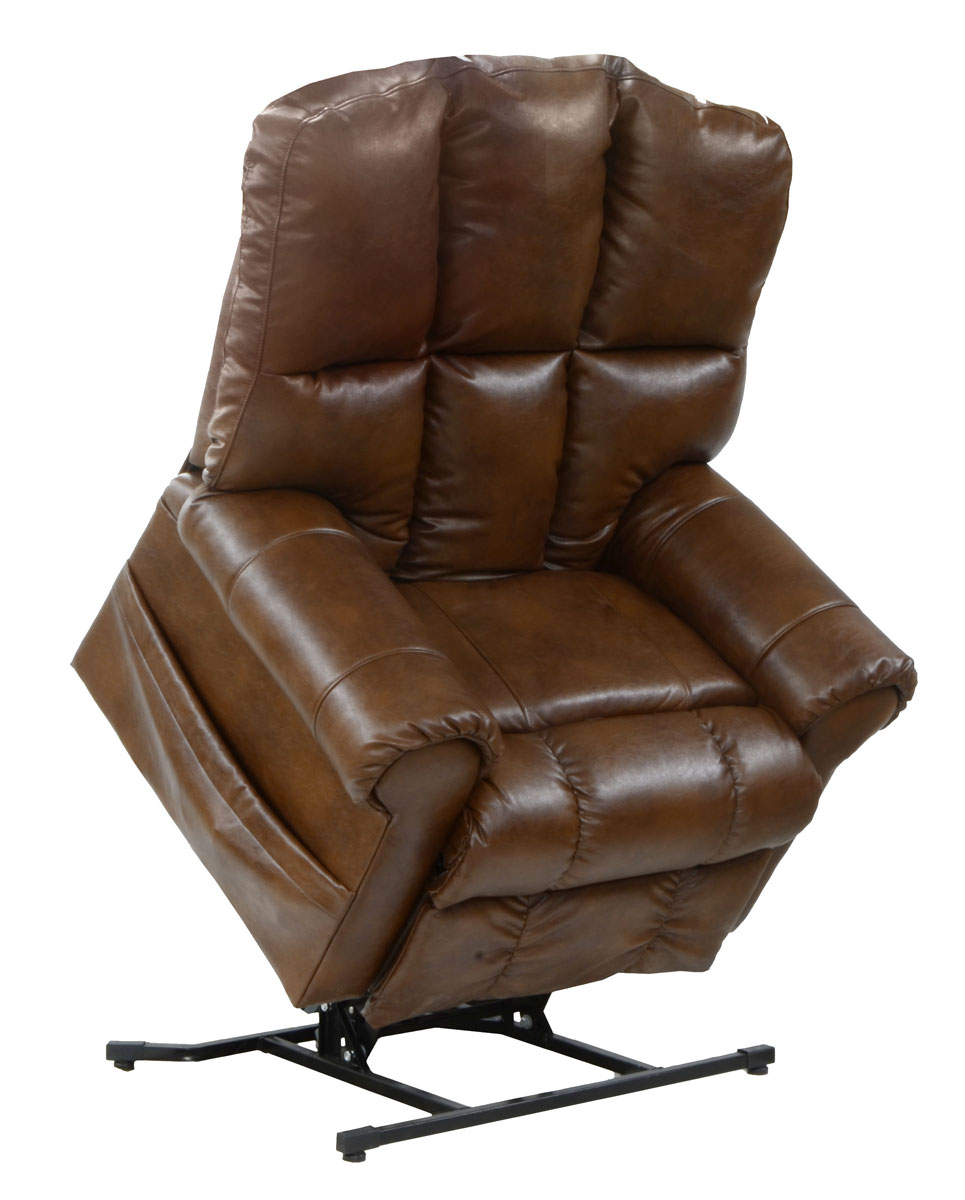CatNapper Stallworth Bonded Leather Power Lift Full Lay Out Chaise Recliner - Chestnut