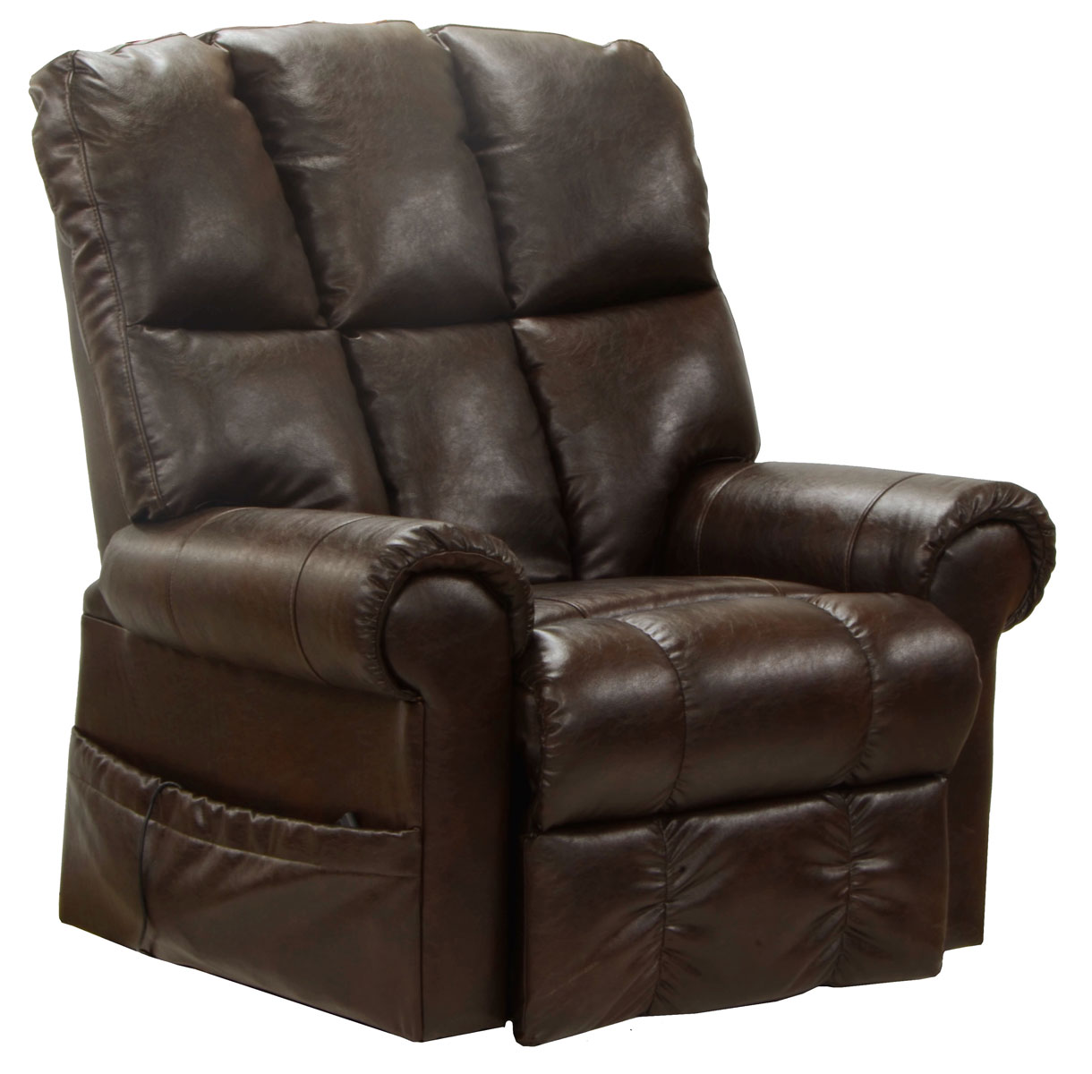 CatNapper Stallworth Bonded Leather Power Lift Full Lay Out Chaise Recliner - Godiva