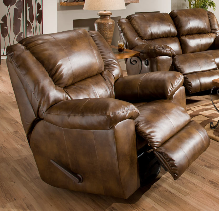 Catnapper transformer bonded leather chaise swivel glider for Bonded leather chaise
