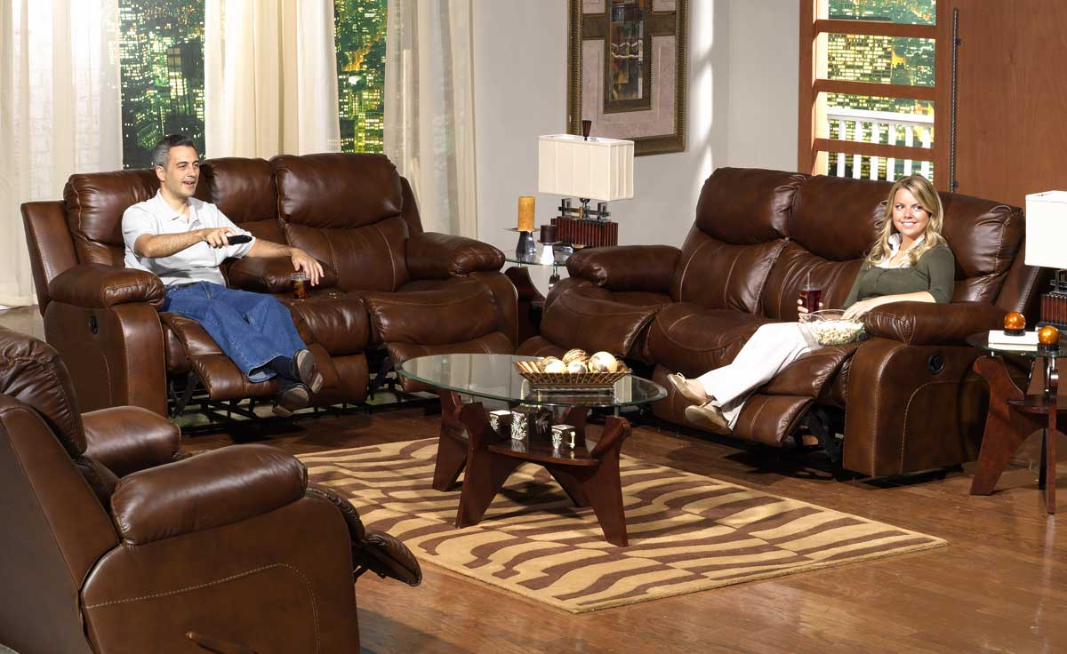 CatNapper Dallas Top Grain Leather Power Reclining Sofa   Tobacco