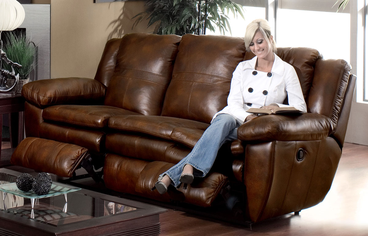 Catner Sonoma Top Grain Leather Reclining Sofa Sable
